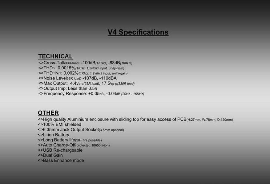 Neco V4 Specs